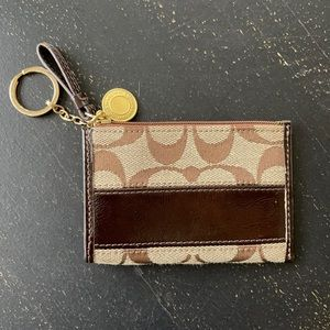 Coach Signature Card Holder with Key Ring